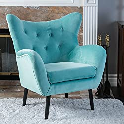 Danielle Light Blue Velvet Arm Chair