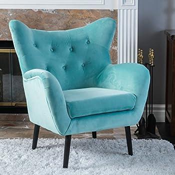 Danielle Light Blue Velvet Arm Chair