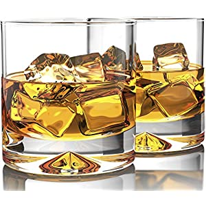 Premium Whiskey Glasses – Lead Free Hand Blown Crystal – Thick Weighted Bottom – 12oz Set of 2 – Seamless Design – Perfect for Scotch, Bourbon and Old Fashioned Cocktails