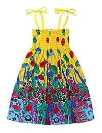 Girls Bohemian Dresses Summer Floral Sleeveless Off Shoulder Casual Dress Kids Beach Sundress with Necklace