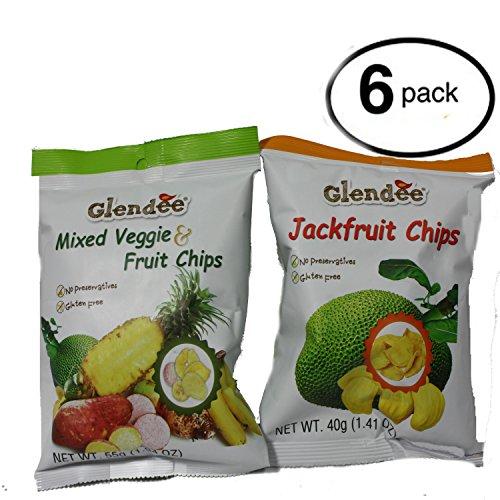 Glendee Mixed Veggie & Fruit Chips | Jackfruit Chips BUNDLE 6 PACK 1.94OZ 55G Each by Glendee