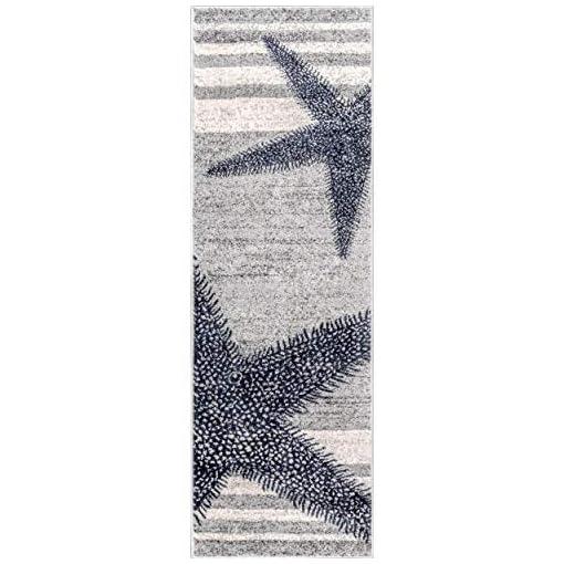 2 X 6 Grey Blue Starfish Runner Rug Rectangle Coastal Beach