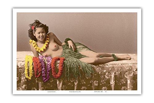 Young Topless Hawaiian Girl - Classic Vintage Hand-Colored Tinted Art - Vintage Hawaiian Real Photo Postcard c.1943 - Master Art Print - 12 x ()