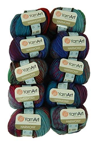 Acrylic Wool Blend - Bulk Buy Yarn Art Harmony 10-Ball Lot Medium #4 Worsted Wool Acrylic Blend (Harmony A1)