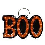 "Northlight Seasonal Lighted Black and Orange Boo Hanging Halloween Window or Wall Decoration, 20"""