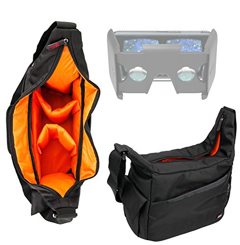 Durable Shoulder 'Sling' Bag in Black & Orange for the Sulon Q VR Headset - By DURAGADGET