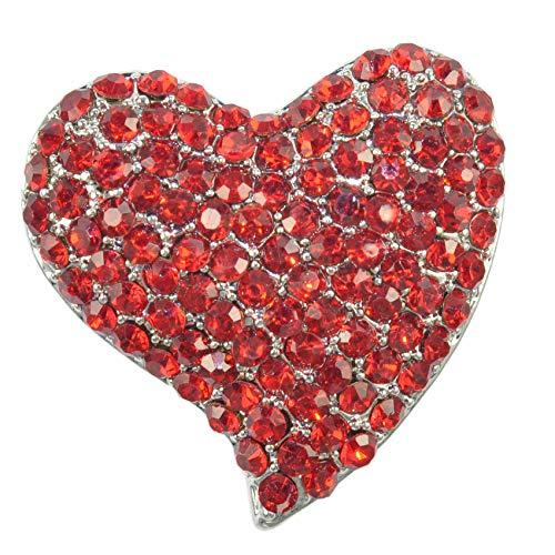- Gyn&Joy Silvery Tone Austrian Crystal Love Valentine Heart Brooch Pin BZ264 (Red)