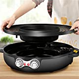TOPQSC 2 in 1 Electric Smokeless Grill and Hot