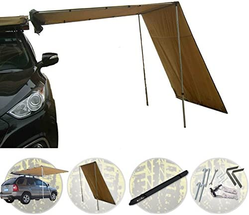 Offroaidng Gear 6.5 L x 8 W Roof Rack 4×4 Awning w Free 6.5 Front Extension, for Car SUV Truck – Dark Beige