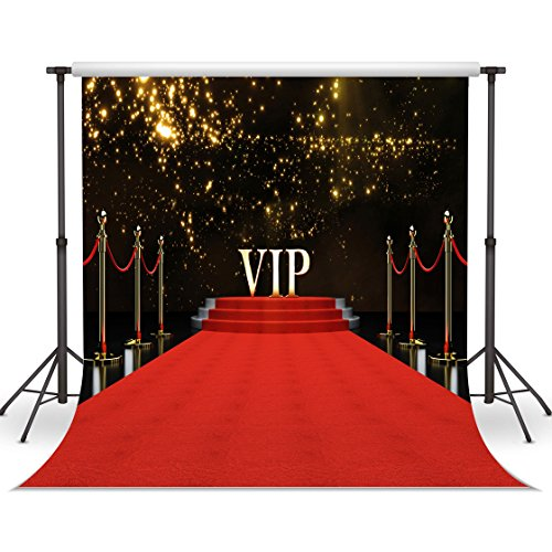 LYWYGG VIP Red Carpet Background 10x10ft Vinyl Photography Backdrop Customized Photo Background Studio Prop CP-45]()