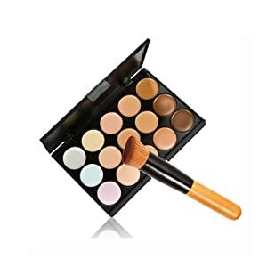 UNKE 15 Colours Professional Concealer Camouflage Makeup Palette Contour Face Contouring Kit+Foundation Brush Kit