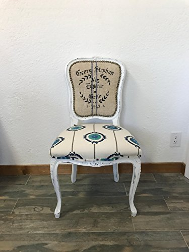Louis XV French Style Square Back Side Chair, Suzani Print Fabric, Vintage Grain Sack Fabric, White Chair, Dining Chair, Desk Chair, Accent Chair