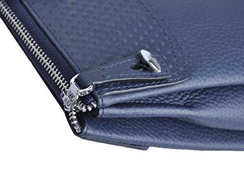 Haagendess Business Mens Bag Leather Laptop Briefcase Hand Bag (Blue) by haagendess (Image #3)