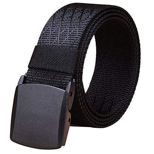 Fairwin Cinturón táctico de Nailon para Hombre con Hebilla cincha Estilo Militar (Negro)