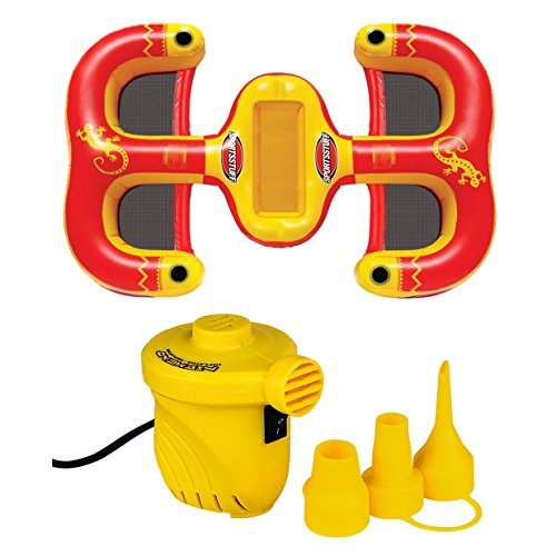 Kwik Tek Sportsstuff Cantina Lounger 4-Person Inflatable Raft + 12V Portable Air Pump