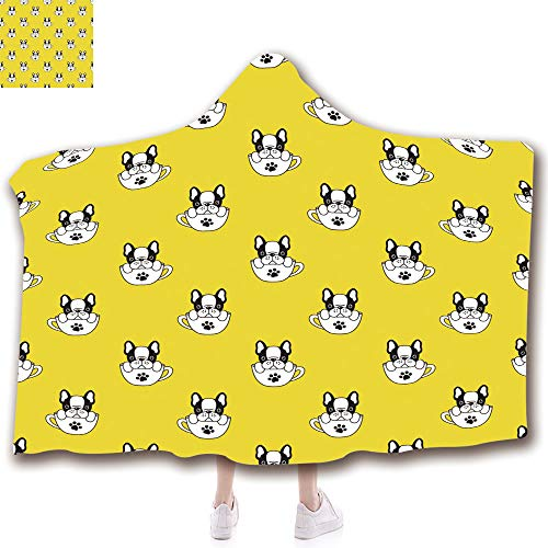 Wearable Hooded Blanket Fashion 3D Printed Design Flannel Blanket with Hood Adults Kids (43