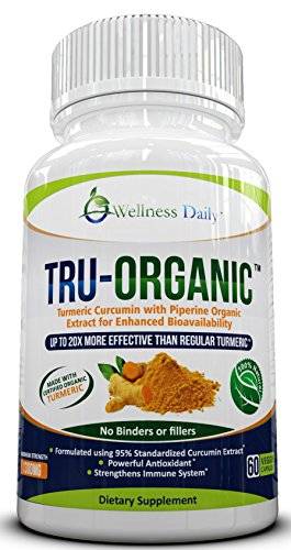 Wellness Daily TRU-ORGANIC Turmeric Curcumin with Bioperine 1300mg Supplement, 60 Capsules