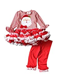 Infant Baby Girls Christmas Dress Pant Set Outfit Xmas