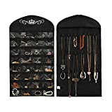 TWING Non-woven Hanging Jewelry Organizer Display,32Pocket 18 Hook and Loops Closet Canvas Ultra Jewelry Organizer Hanger, Black