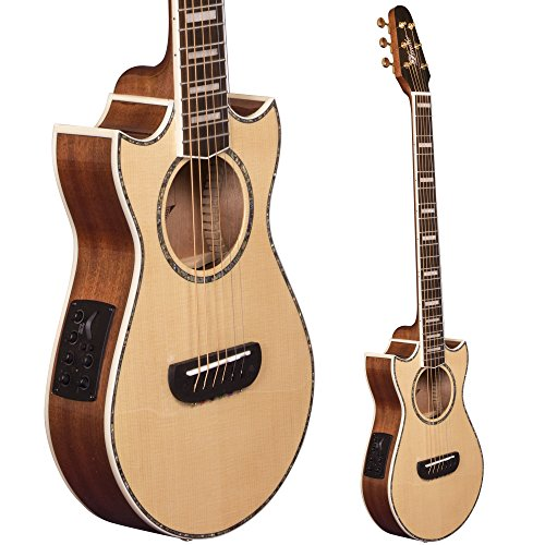 Lindo Voyager SE Solid Spruce Top Electro-Acoustic Travel Guitar with BS3M Blend Preamp/LCD Tuner and Padded Gigbag