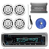 Kenwood KMRD375BT Marine Boat Audio Bluetooth CD Player Receiver Bundle Combo with 4X 6.5 100W 2-Way White Coaxial Speakers + Compact 4-Channel Amplifier + Enrock Radio Antenna + 50Ft Speaker Wire