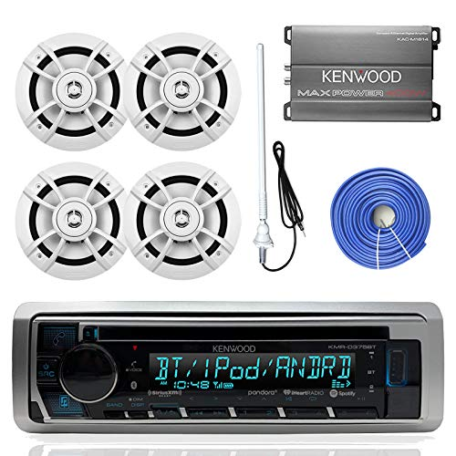 Kenwood KMRD375BT Marine Boat Audio Bluetooth CD Player Receiver Bundle Combo with 4X 6.5 100W 2-Way White Coaxial Speakers + Compact 4-Channel Amplifier + Enrock Radio Antenna + 50Ft Speaker Wire ()