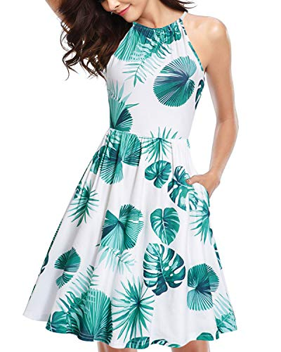 Print Spandex Halter Top - KILIG Women's Halter Neck Floral Summer Dress Strap Sundress with Pockets(Floral F,XL)