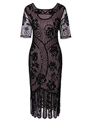 Vijiv Women Vintage 1920s Dresses Floary Beaded Cocktail Flapper Dress with Sleeves Gatsby Party