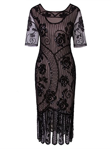 Vijiv Women Vintage Style 1920s Dresses Inspired Beaded Cocktail Flapper Dress For Wedding Gatsby Party With Sleeves