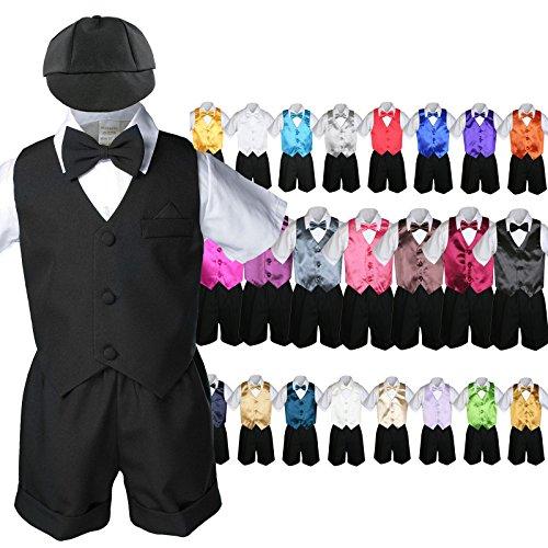 Unotux 7pc Baby Boy Black Formal Shorts Suits Extra Color Vest Bow Tie Sets S-4T (L:(12-18 months), Gold)