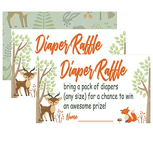 Woodland Creature Diaper Raffle Tickets for Girl or Boy Baby Shower Invitations,50 Baby Shower Game, Bring a Pack of Diapers to Win Favors, -