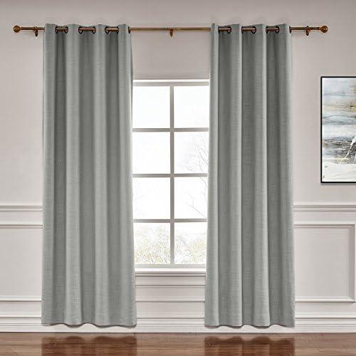 TWOPAGES Darkening Grommet Drapes Liz Faux Linen Curtain