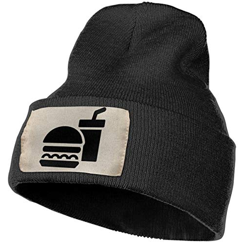 Fast Food Junk Food Unisex Knit Hat Cap Soft Warm Winter Hat Beanie Skull Caps Winter Gift Black One Size