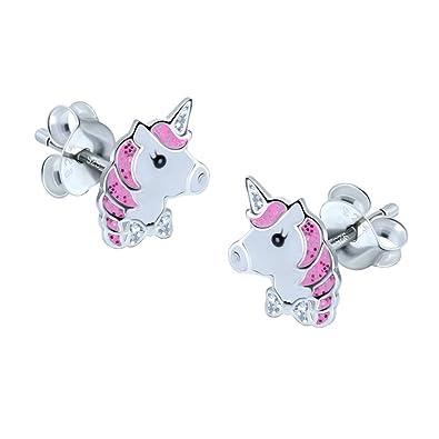 Gold Glitter Unicorn Earrings - Sterling Silver 77qkO