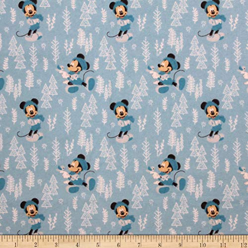 Eugene Textiles Mickey & Minnie Mouse Little Meadow Forest Flannel Fabric, Blue, Fabric By The Yard ()
