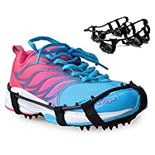 ThinkTop 18 Teeth Snow Traction Cleats Antislip Snow Ice Climbing Spikes Gripper Crampon Shoes Cover Black