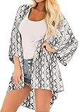Finoceans Women Open Front Short Sleeve Cardigans Blouse Snake Print 2XL