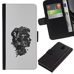 JackGot ( Brain Thoughts ) Samsung Galaxy Note 3 III la tarjeta de Crédito Slots PU Funda de cuero Monedero caso cubierta de piel