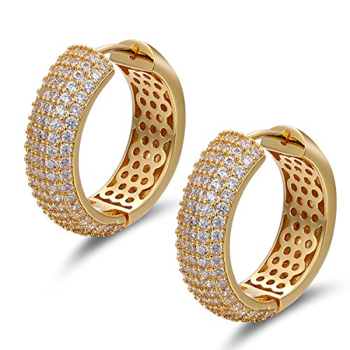 - 18K Gold Plated Big Hoop Earrings Pave CZ Hypoallergenic Vintage for Women Girls
