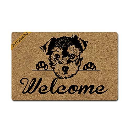 Artsbaba Welcome Dog Doormat Yorkshire Terrier Door Mat Rubber Non-Slip Entrance Rug Floor Mat Balcony Mat Funny Home Decor Indoor Mat 23.6 x 15.7 Inches, 0.18 Inch Thickness