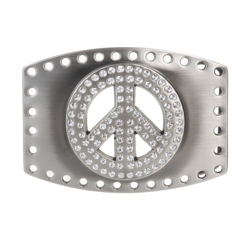 Rhinestone Peace Sign Belt Buckle ()
