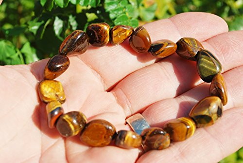 CHARGED Tiger Eye Crystal Bracelet Tumble Polished Stretchy (Actualize Prosperity - Gain Emotional Balance, Grounding & Centering, Clear Perception & Insight) REIKI by ZENERGY GEMS