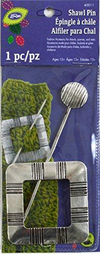 (LoRan 40011 Shawl Pin with Square Design, Silver Finish)