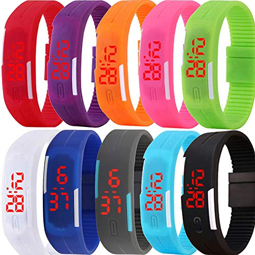 Yunanwa 10 Pack Wholesale Silicone Rubber Gel Jelly Unisex LED Wrist Watch Bracelet Men Women (Style A)