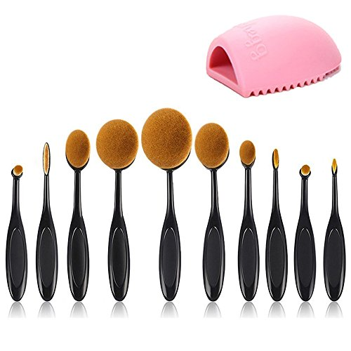 Beauty Kate Set of 10 pcs Makeup Brush Oval Toothbrush Foundation Powder Blush Soft Face Brush Set + Silicone Makeup Brush - Oval Face
