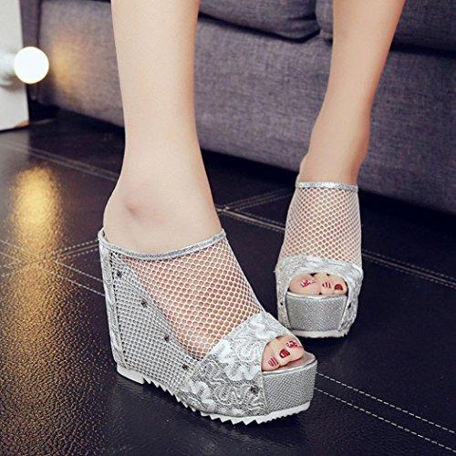 Silver Toe Shoes Heel Women Sandals Slippers Heel Height Longra Open High Sandals Wedge Hollow Summer About 13cm AacwqfP