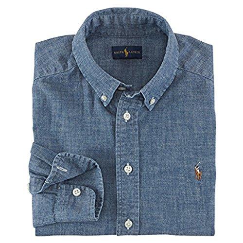 (RALPH LAUREN Men's Denim Chambray Casual Shirt (Large, Blue))