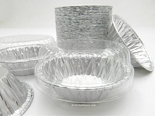 3 inch Deep Disposable Aluminum Tart Pans with Clear Dome Lid D & W #A90P (Quantity Pack Options) (100)
