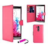 32nd® Book wallet PU leather case cover for LG G3 (D855), including screen protector, cleaning cloth and touch stylus - Hot Pink
