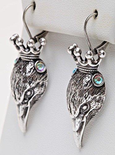 Kirks Folly Nevermore Raven King Leverback Earrings silvertone